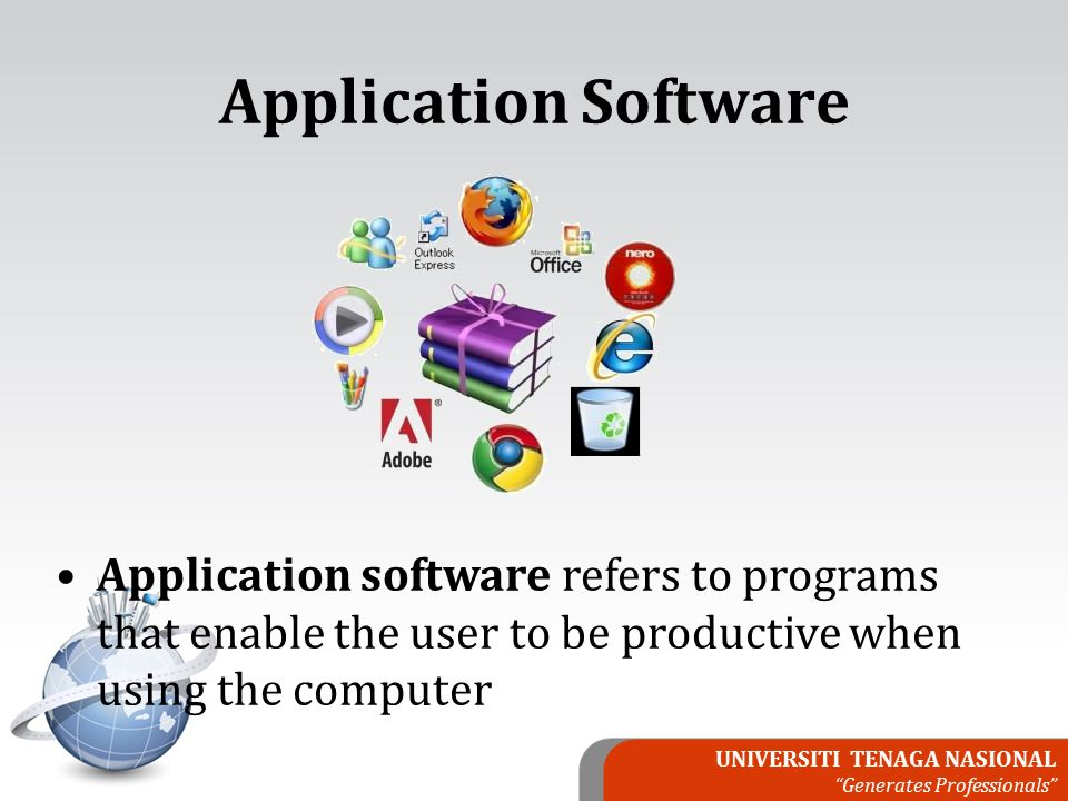 UNIVERSITI TENAGA NASIONAL Generates Professionals Application software refers to programs that enable the user to be productive when using the computer Application Software