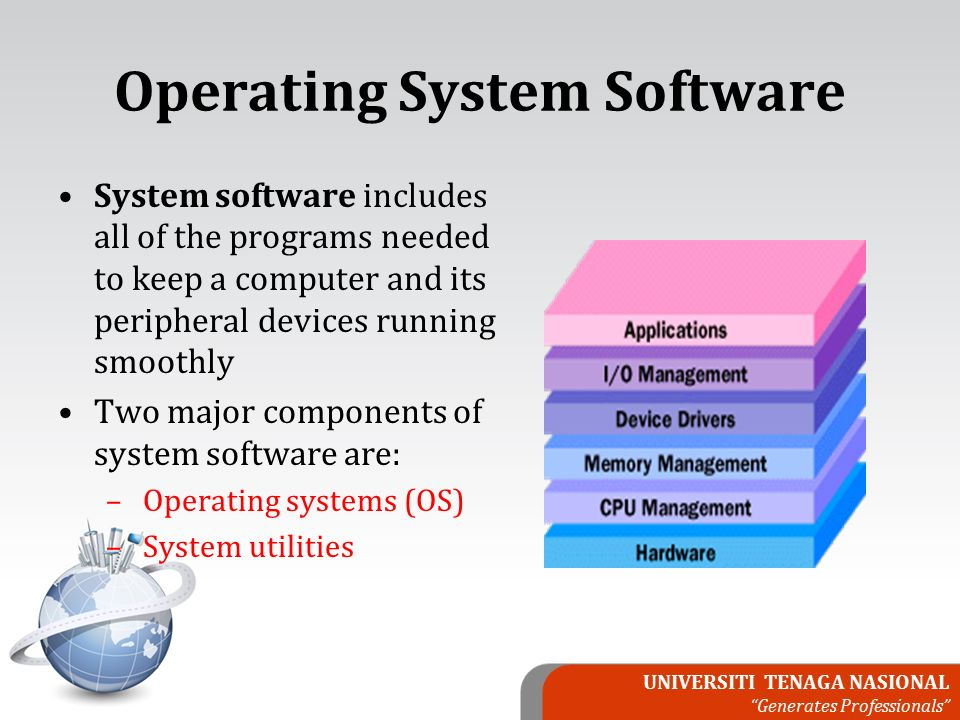 UNIVERSITI TENAGA NASIONAL Generates Professionals Operating System Software System software includes all of the programs needed to keep a computer and its peripheral devices running smoothly Two major components of system software are: – Operating systems (OS) – System utilities