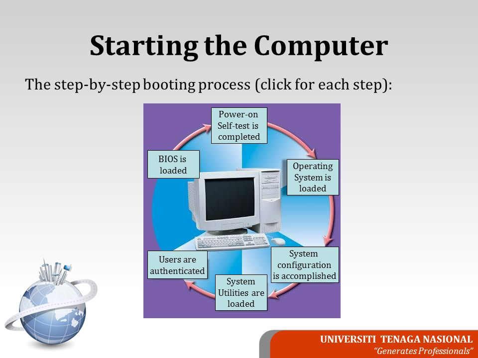 UNIVERSITI TENAGA NASIONAL Generates Professionals The step-by-step booting process (click for each step): BIOS is loaded Power-on Self-test is completed Operating System is loaded System configuration is accomplished System Utilities are loaded Users are authenticated Starting the Computer