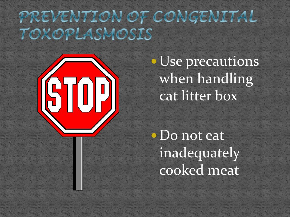 Use precautions when handling cat litter box Do not eat inadequately cooked meat