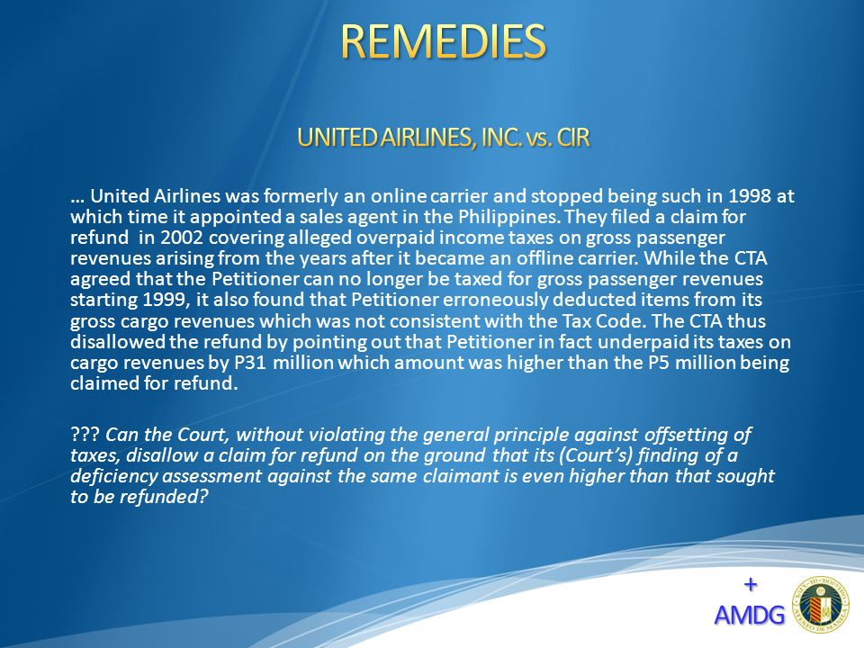 … United Airlines was formerly an online carrier and stopped being such in 1998 at which time it appointed a sales agent in the Philippines.