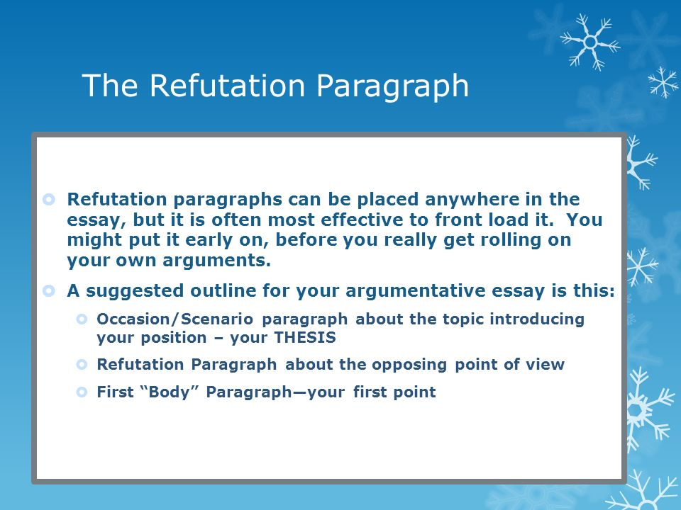how to write a refutation paragraph strengthening your argument  the refutation paragraph  refutation paragraphs can be placed anywhere in the essay but it