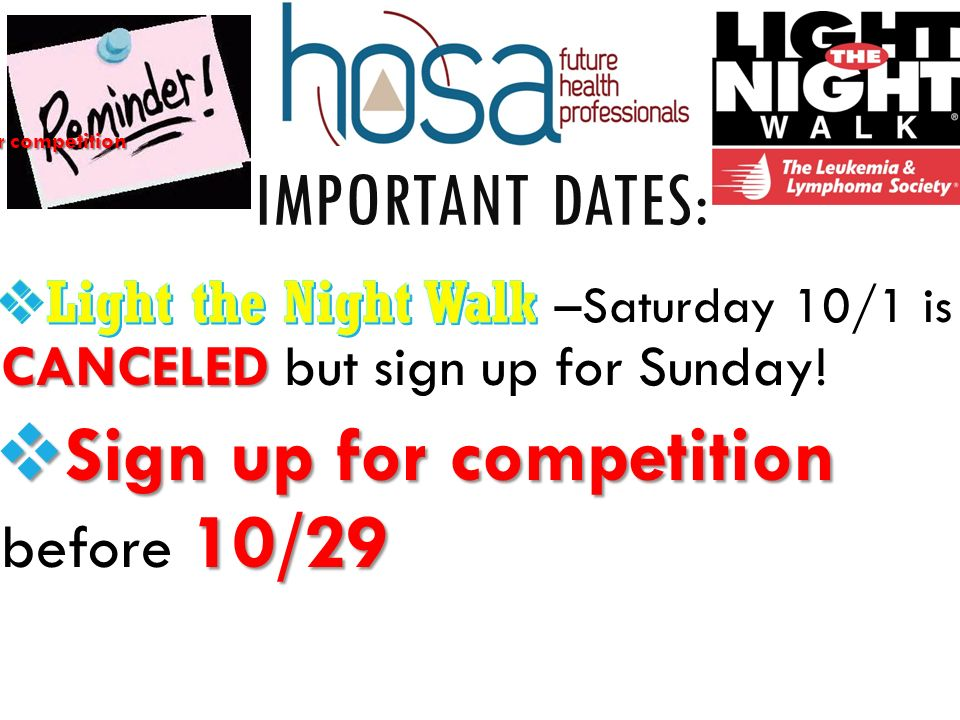 IMPORTANT DATES: Sign up for competition