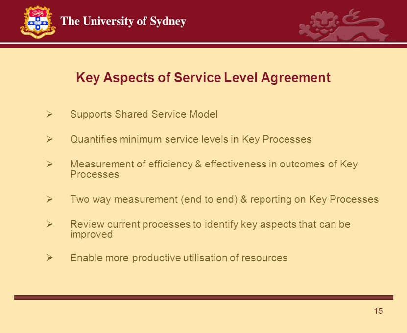 15 Key Aspects of Service Level Agreement  Supports Shared Service Model  Quantifies minimum service levels in Key Processes  Measurement of efficiency & effectiveness in outcomes of Key Processes  Two way measurement (end to end) & reporting on Key Processes  Review current processes to identify key aspects that can be improved  Enable more productive utilisation of resources