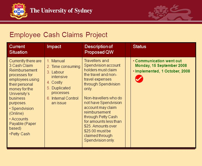 Employee Cash Claims Project Current Situation ImpactDescription of Proposed QW Status Currently there are 3 Cash Claim Reimbursement processes for employees using their personal money for the University's business purposes.