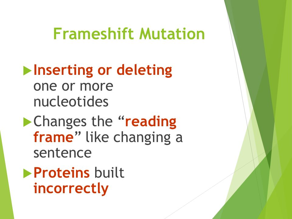 Frameshift Mutation  Inserting or deleting one or more nucleotides  Changes the reading frame like changing a sentence  Proteins built incorrectly