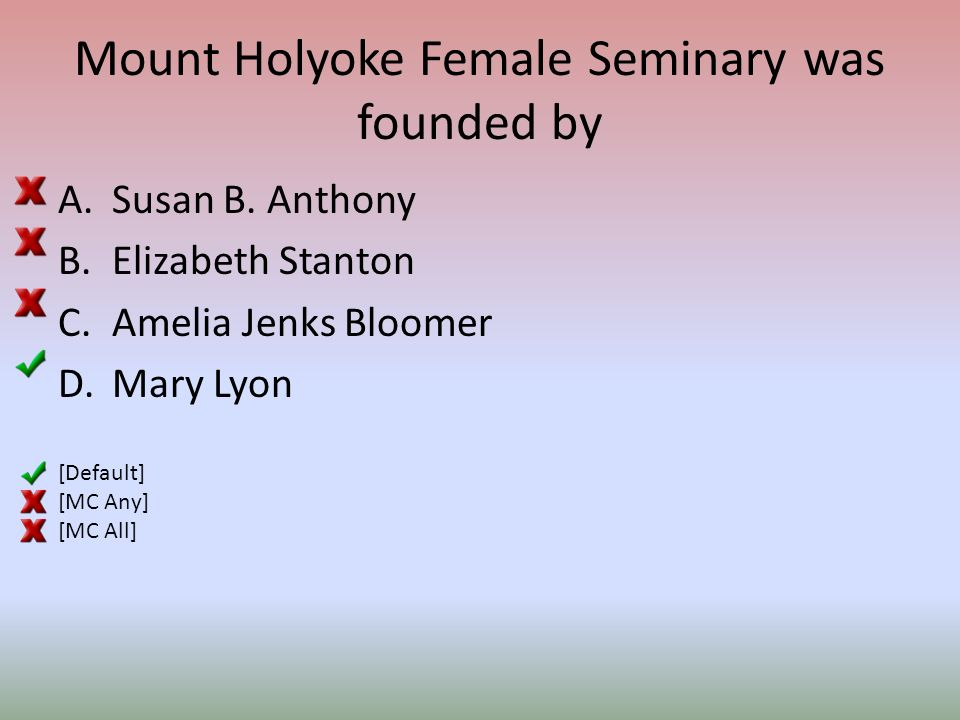 Mount Holyoke Female Seminary was founded by A.Susan B.