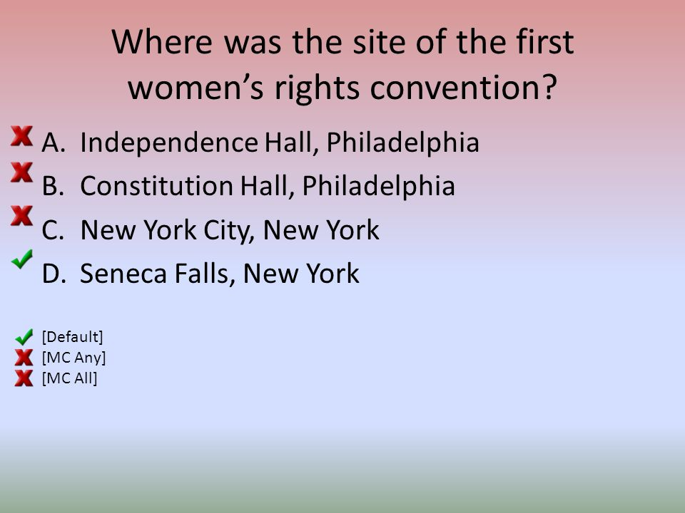 Where was the site of the first women's rights convention.