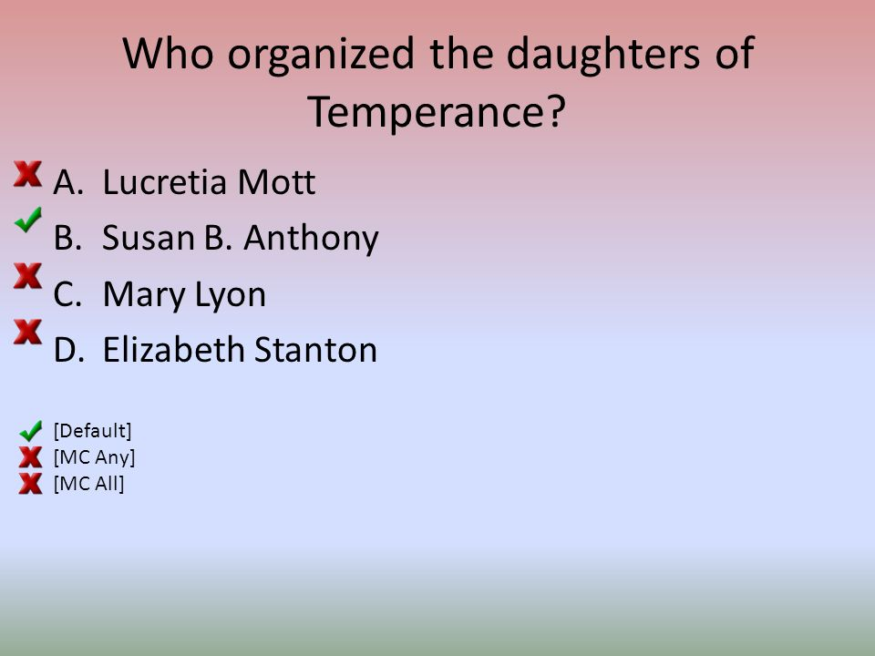 Who organized the daughters of Temperance. A.Lucretia Mott B.Susan B.