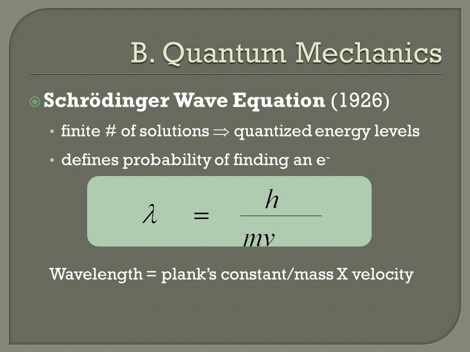  Schrödinger Wave Equation (1926) finite # of solutions  quantized energy levels defines probability of finding an e - Wavelength = plank's constant/mass X velocity