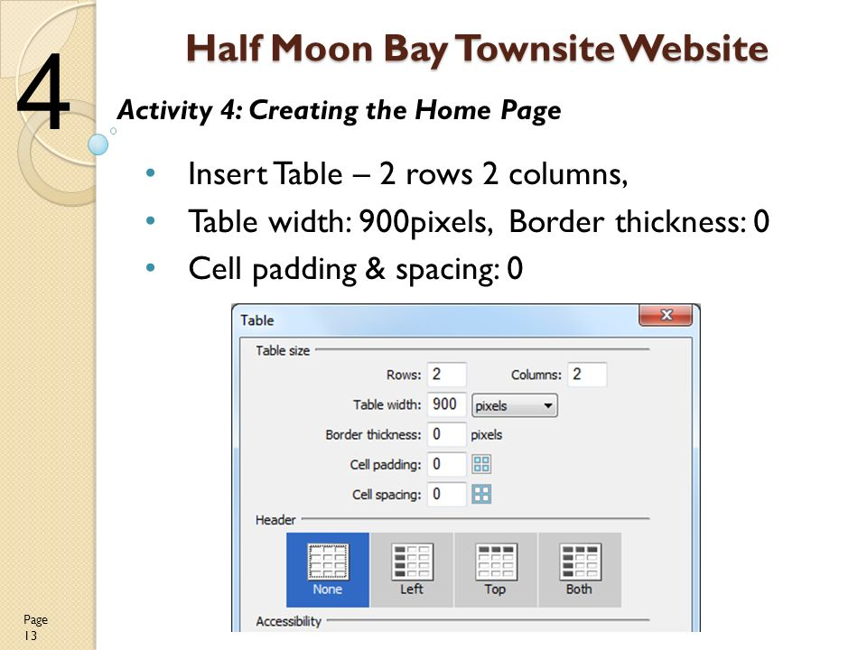 13 Half Moon Bay Townsite Website Insert Table U2013 2 Rows 2 Columns, Table  Width: 900pixels, Border Thickness: 0 Cell Padding U0026 Spacing: 0 Page 13  Activity 4: ...