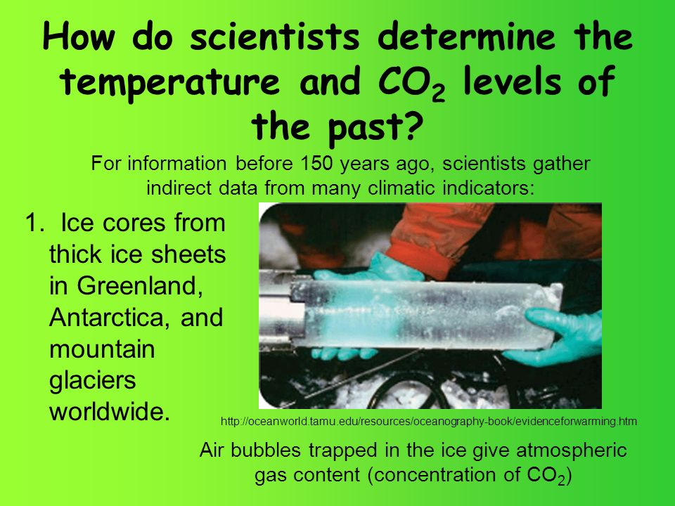 How do scientists determine the temperature and CO 2 levels of the past.