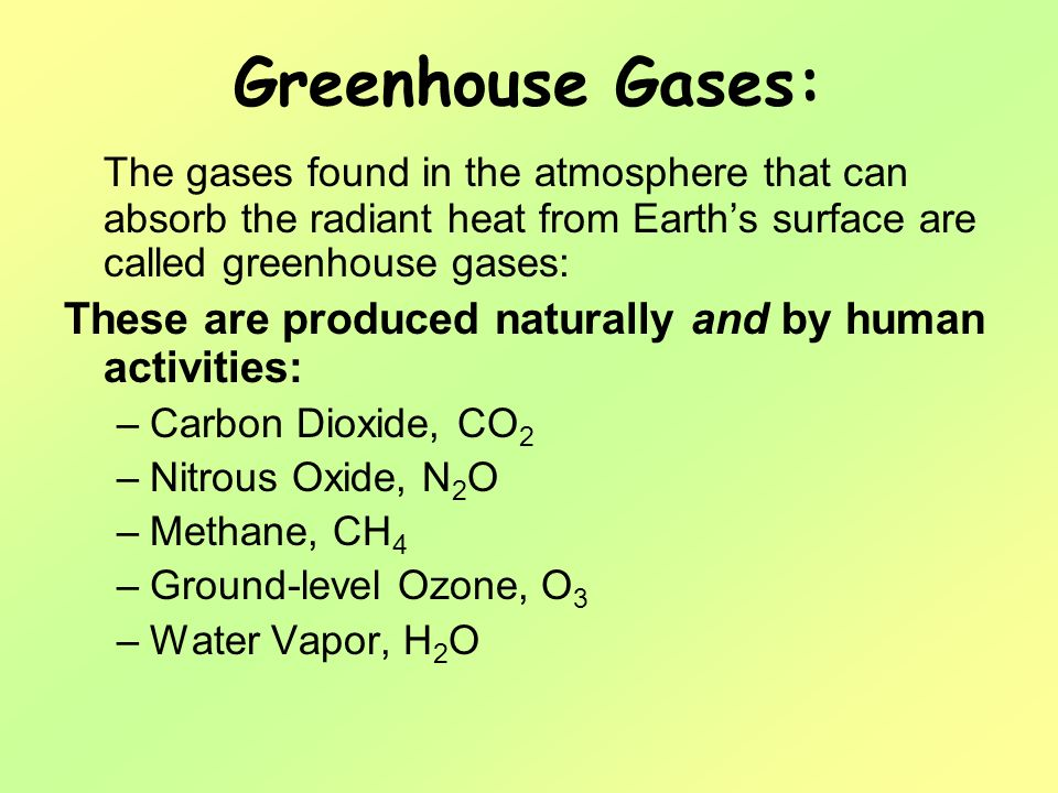 Greenhouse Gases: The gases found in the atmosphere that can absorb the radiant heat from Earth's surface are called greenhouse gases: These are produced naturally and by human activities: –Carbon Dioxide, CO 2 –Nitrous Oxide, N 2 O –Methane, CH 4 –Ground-level Ozone, O 3 –Water Vapor, H 2 O