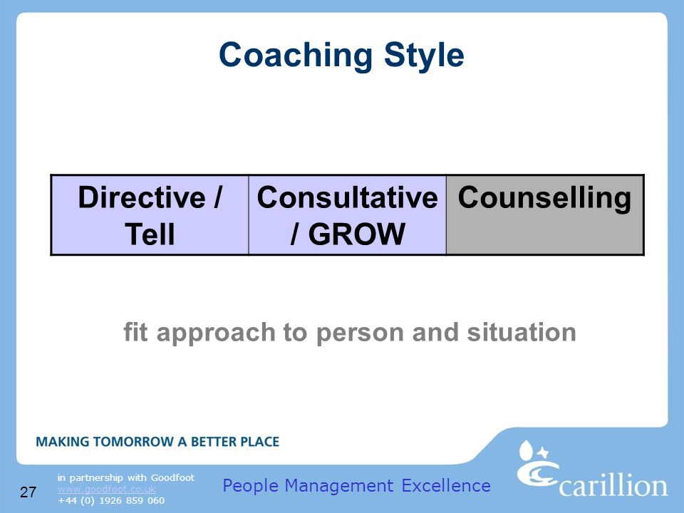 27 in partnership with Goodfoot www.goodfoot.co.uk +44 (0) 1926 859 060 Coaching Style fit approach to person and situation Directive / Tell Consultative / GROW Counselling People Management Excellence
