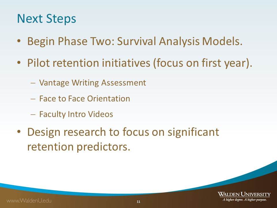 Next Steps Begin Phase Two: Survival Analysis Models.