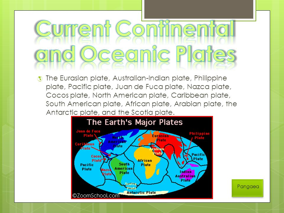  The Eurasian plate, Australian-Indian plate, Philippine plate, Pacific plate, Juan de Fuca plate, Nazca plate, Cocos plate, North American plate, Caribbean plate, South American plate, African plate, Arabian plate, the Antarctic plate, and the Scotia plate.