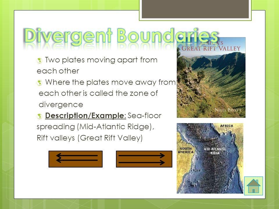  Two plates moving apart from each other  Where the plates move away from each other is called the zone of divergence  Description/Example : Sea-floor spreading (Mid-Atlantic Ridge), Rift valleys (Great Rift Valley)