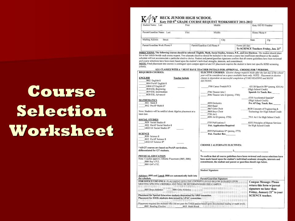 Course Selection Worksheet