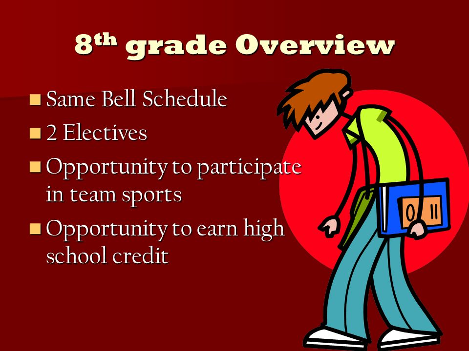 8 th grade Overview Same Bell Schedule Same Bell Schedule 2 Electives 2 Electives Opportunity to participate in team sports Opportunity to participate in team sports Opportunity to earn high school credit Opportunity to earn high school credit