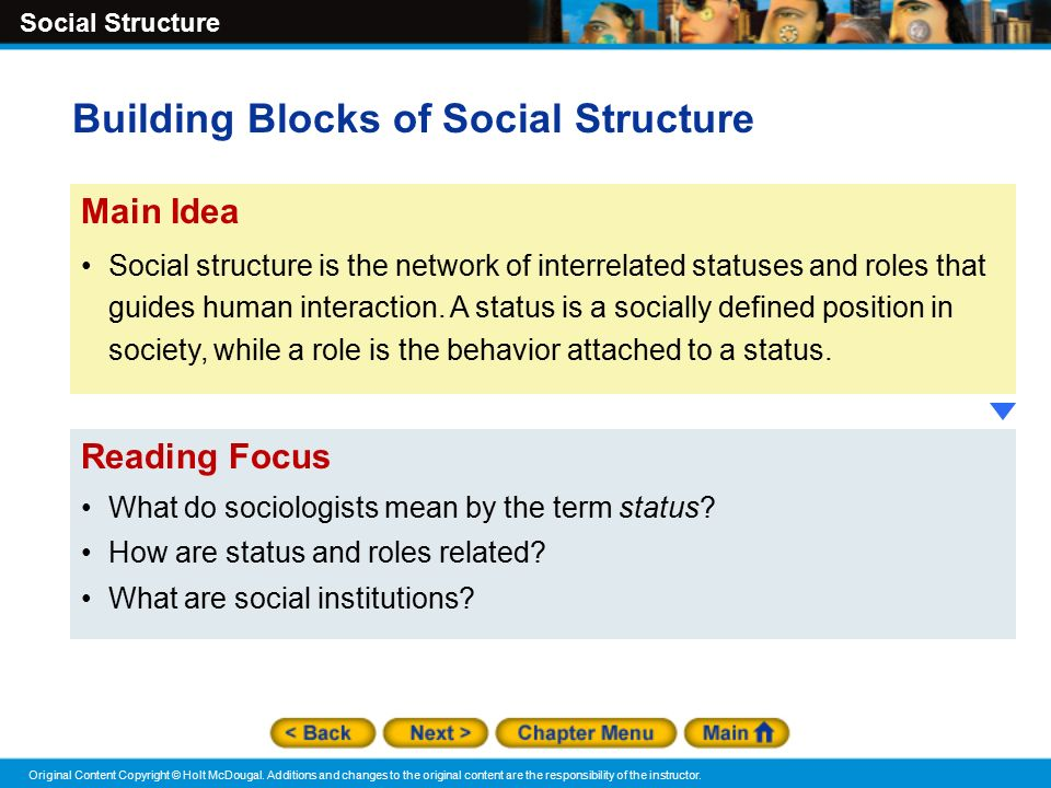 Social Structure Original Content Copyright © Holt McDougal.