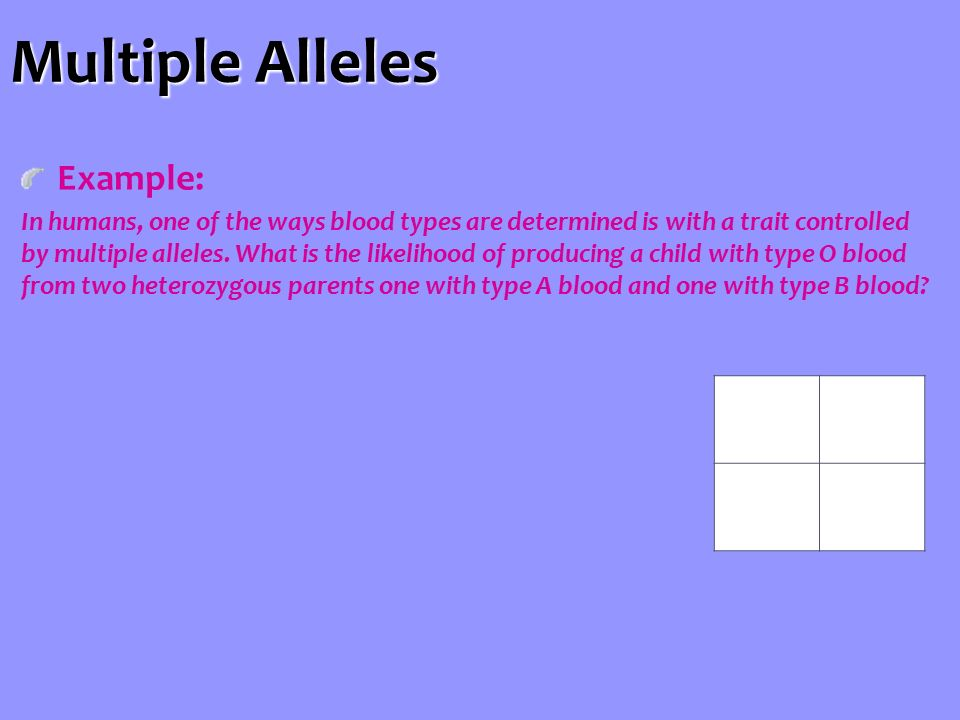 Multiple Alleles Example: In humans, one of the ways blood types are determined is with a trait controlled by multiple alleles.