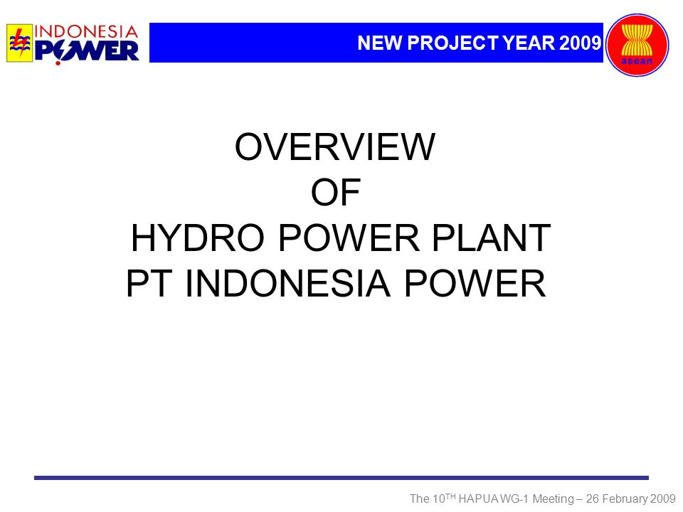NEW PROJECT YEAR 2009 The 10 TH HAPUA WG-1 Meeting – 26 February 2009 OVERVIEW OF HYDRO POWER PLANT PT INDONESIA POWER