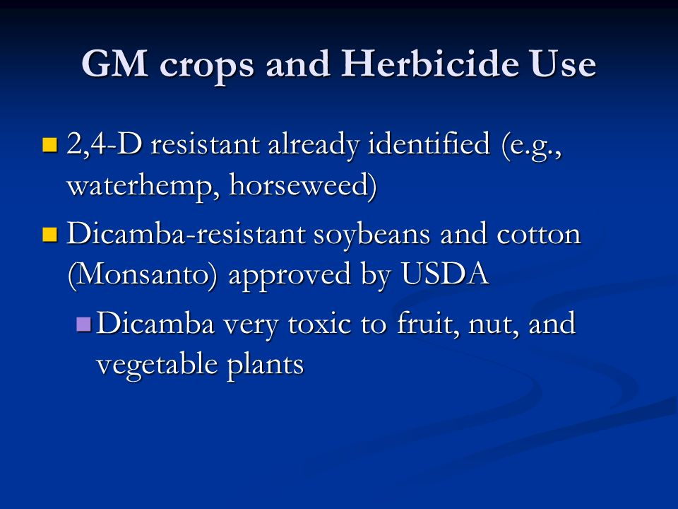 GM crops and Herbicide Use 2,4-D resistant already identified (e.g., waterhemp, horseweed) 2,4-D resistant already identified (e.g., waterhemp, horseweed) Dicamba-resistant soybeans and cotton (Monsanto) approved by USDA Dicamba-resistant soybeans and cotton (Monsanto) approved by USDA Dicamba very toxic to fruit, nut, and vegetable plants Dicamba very toxic to fruit, nut, and vegetable plants