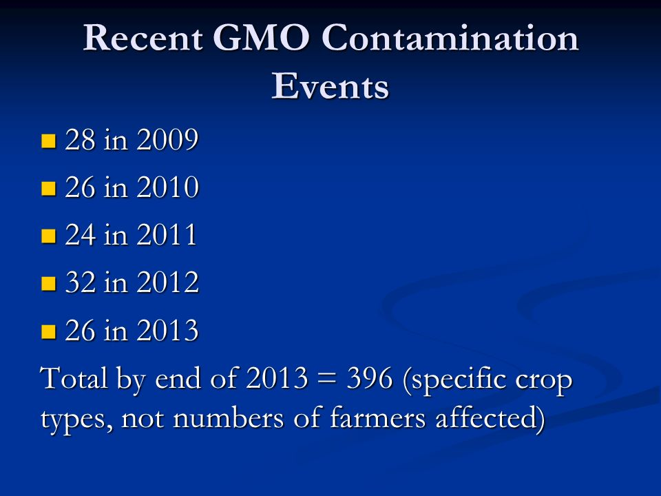 Recent GMO Contamination Events 28 in in in in in in in in in in 2013 Total by end of 2013 = 396 (specific crop types, not numbers of farmers affected)