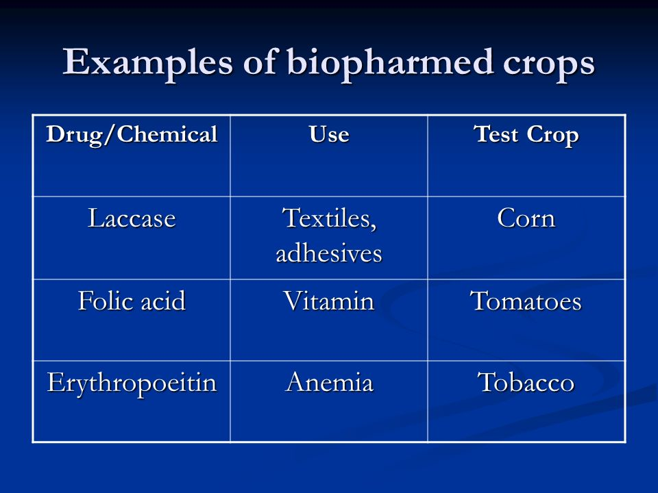 Examples of biopharmed crops Drug/ChemicalUse Test Crop Laccase Textiles, adhesives Corn Folic acid VitaminTomatoes ErythropoeitinAnemiaTobacco
