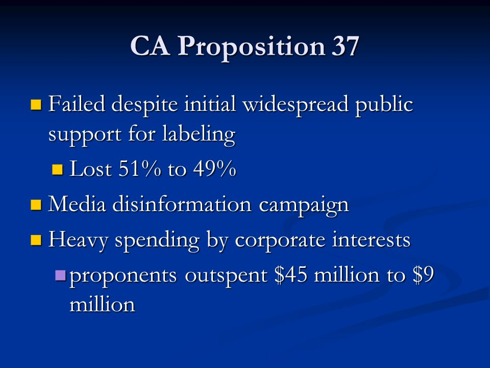 CA Proposition 37 Failed despite initial widespread public support for labeling Failed despite initial widespread public support for labeling Lost 51% to 49% Lost 51% to 49% Media disinformation campaign Media disinformation campaign Heavy spending by corporate interests Heavy spending by corporate interests proponents outspent $45 million to $9 million proponents outspent $45 million to $9 million