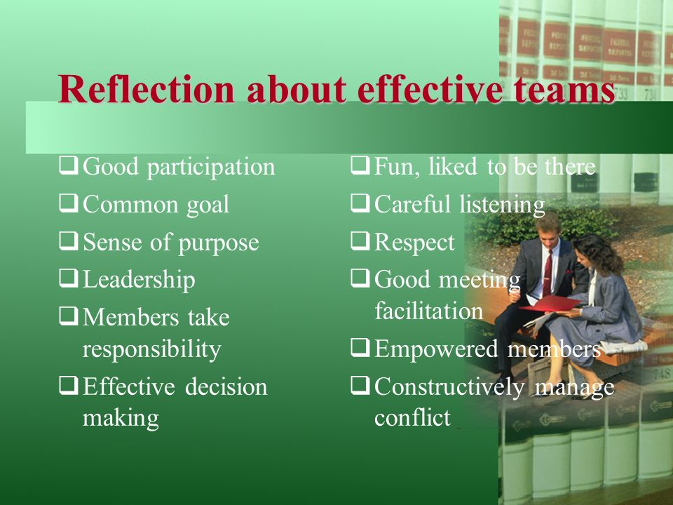 Reflection about effective teams  Good participation  Common goal  Sense of purpose  Leadership  Members take responsibility  Effective decision making  Fun, liked to be there  Careful listening  Respect  Good meeting facilitation  Empowered members  Constructively manage conflict