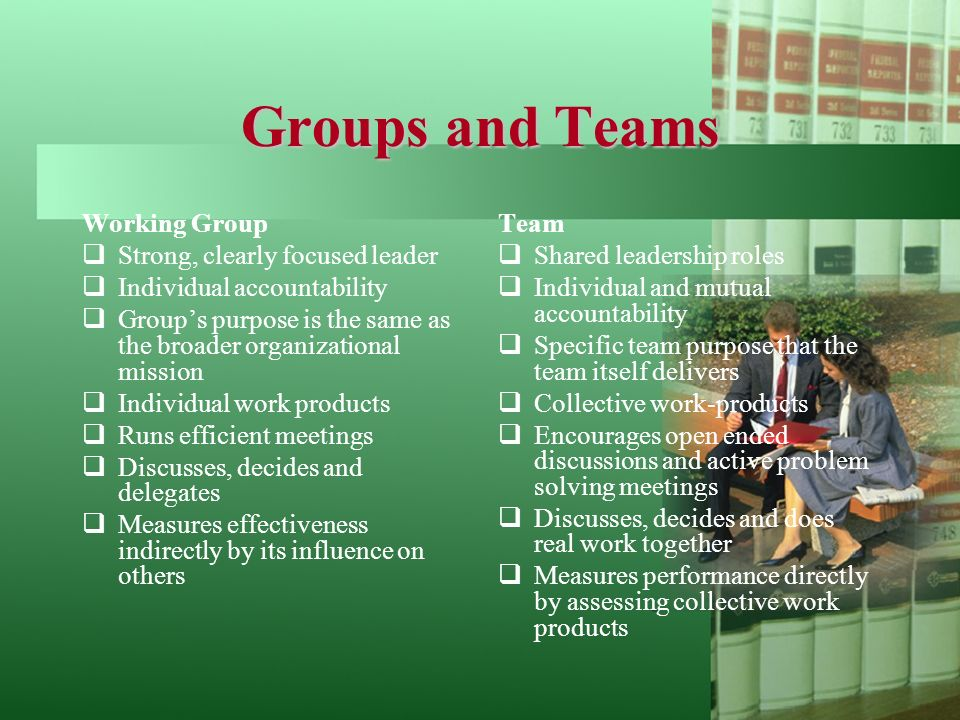 Groups and Teams Working Group  Strong, clearly focused leader  Individual accountability  Group's purpose is the same as the broader organizational mission  Individual work products  Runs efficient meetings  Discusses, decides and delegates  Measures effectiveness indirectly by its influence on others Team  Shared leadership roles  Individual and mutual accountability  Specific team purpose that the team itself delivers  Collective work-products  Encourages open ended discussions and active problem solving meetings  Discusses, decides and does real work together  Measures performance directly by assessing collective work products