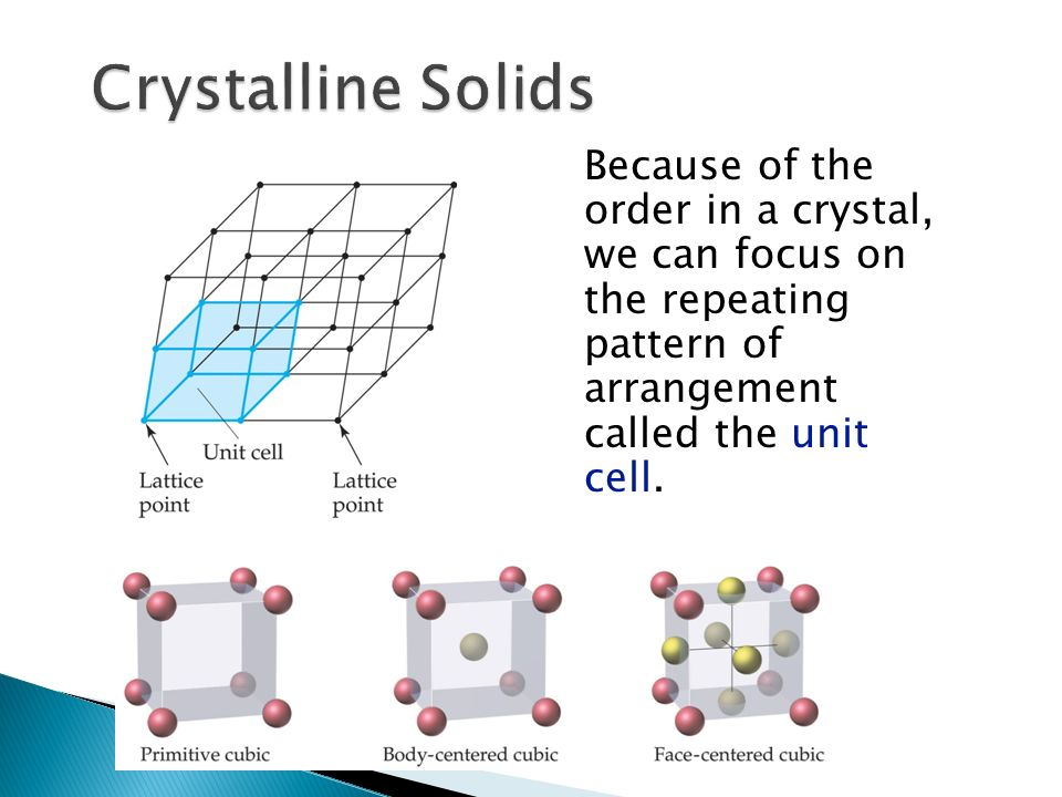 Because of the order in a crystal, we can focus on the repeating pattern of arrangement called the unit cell.
