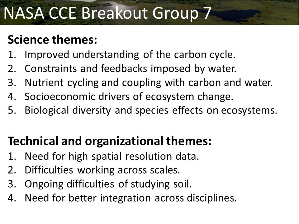 Science themes: 1.Improved understanding of the carbon cycle.