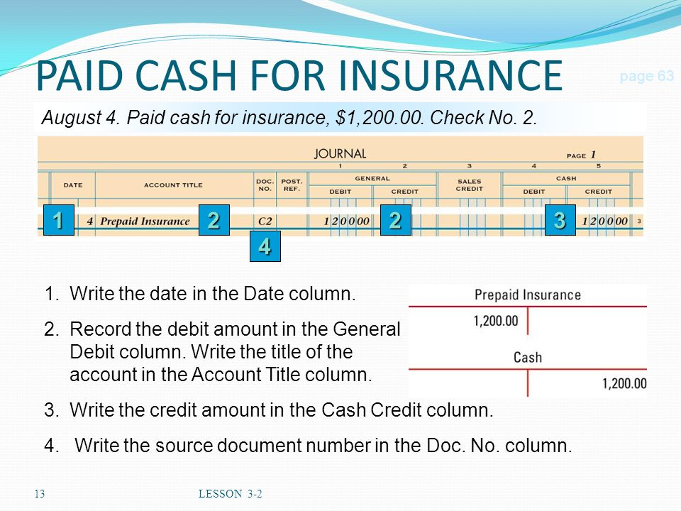 13LESSON 3-2 PAID CASH FOR INSURANCE page 63 August 4.