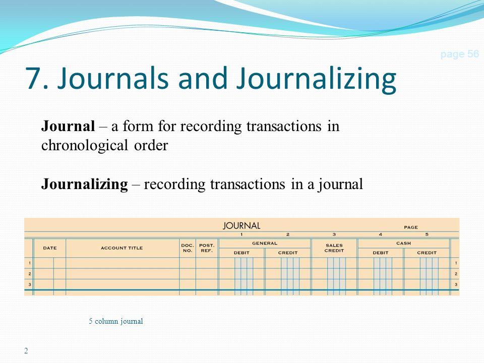 Journalizing Transactions. 2 5 column journal 7. Journals and ...