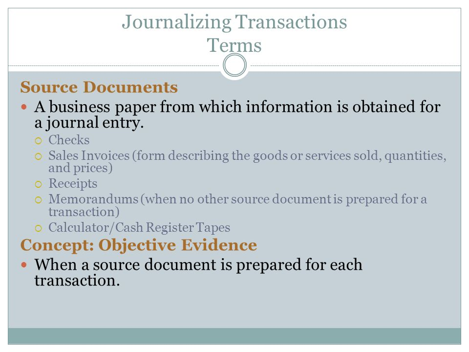 Journalizing Transactions Terms Source Documents A business paper from which information is obtained for a journal entry.