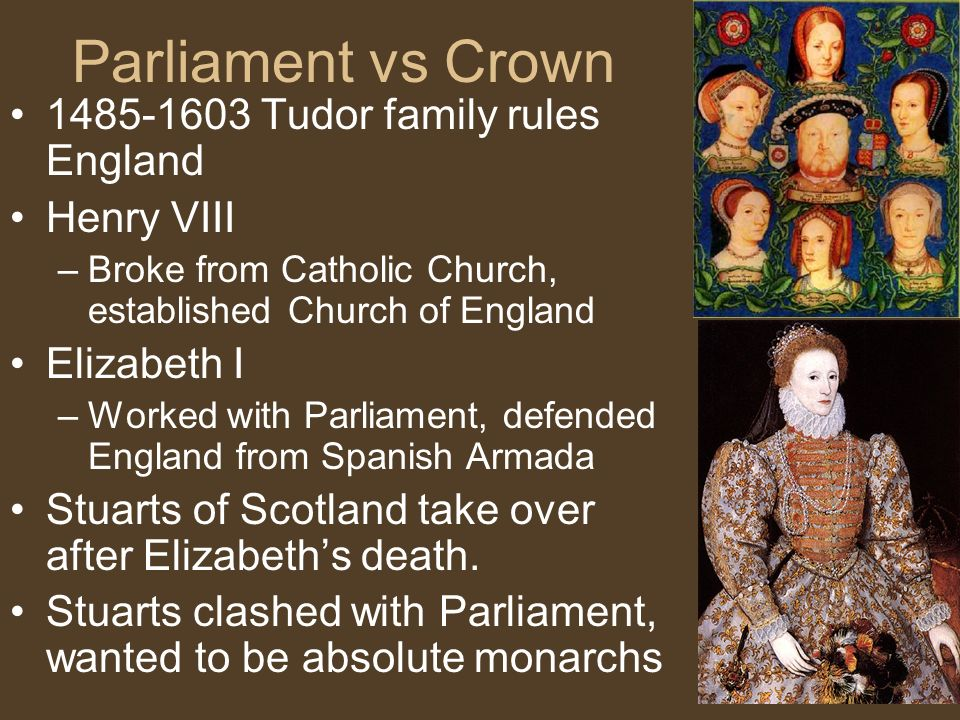 Parliament vs Crown Tudor family rules England Henry VIII –Broke from Catholic Church, established Church of England Elizabeth I –Worked with Parliament, defended England from Spanish Armada Stuarts of Scotland take over after Elizabeth's death.