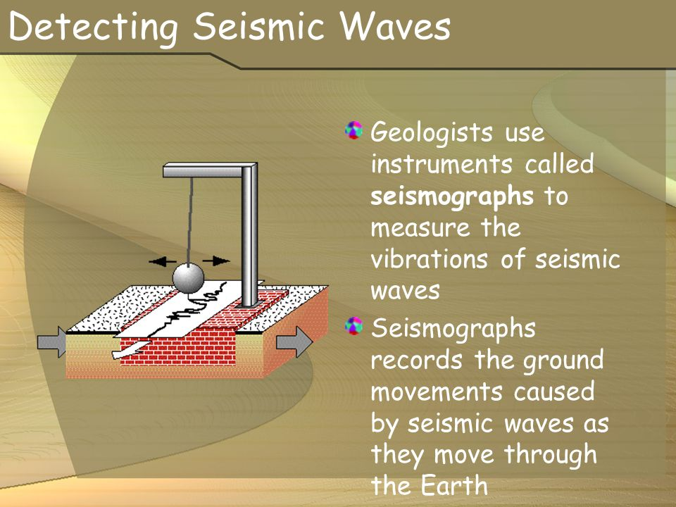 Detecting Seismic Waves Geologists use instruments called seismographs to measure the vibrations of seismic waves Seismographs records the ground movements caused by seismic waves as they move through the Earth