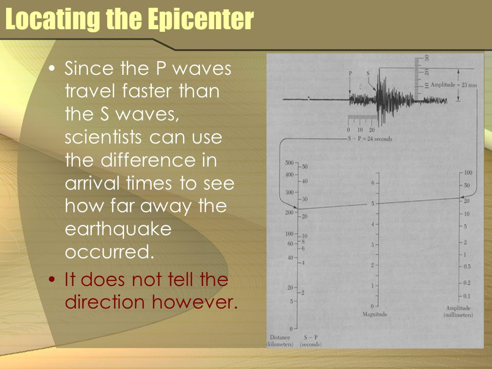 Locating the Epicenter Since the P waves travel faster than the S waves, scientists can use the difference in arrival times to see how far away the earthquake occurred.