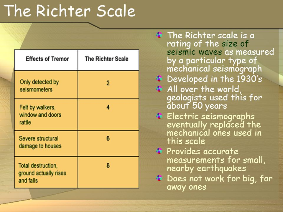 The Richter Scale The Richter scale is a rating of the size of seismic waves as measured by a particular type of mechanical seismograph Developed in the 1930's All over the world, geologists used this for about 50 years Electric seismographs eventually replaced the mechanical ones used in this scale Provides accurate measurements for small, nearby earthquakes Does not work for big, far away ones