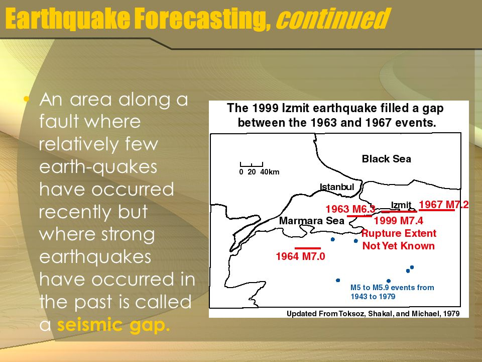 Earthquake Forecasting, continued An area along a fault where relatively few earth-quakes have occurred recently but where strong earthquakes have occurred in the past is called a seismic gap.