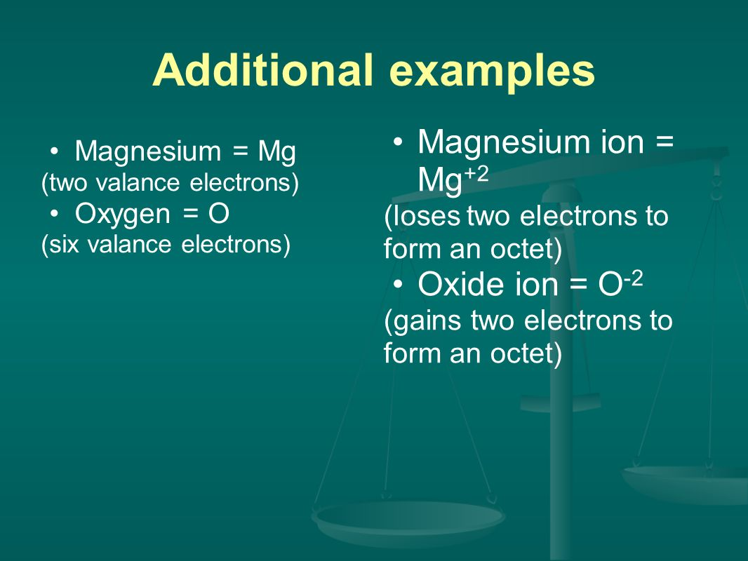 Additional examples Magnesium = Mg (two valance electrons) Oxygen = O (six valance electrons) Magnesium ion = Mg +2 (loses two electrons to form an octet) Oxide ion = O -2 (gains two electrons to form an octet)