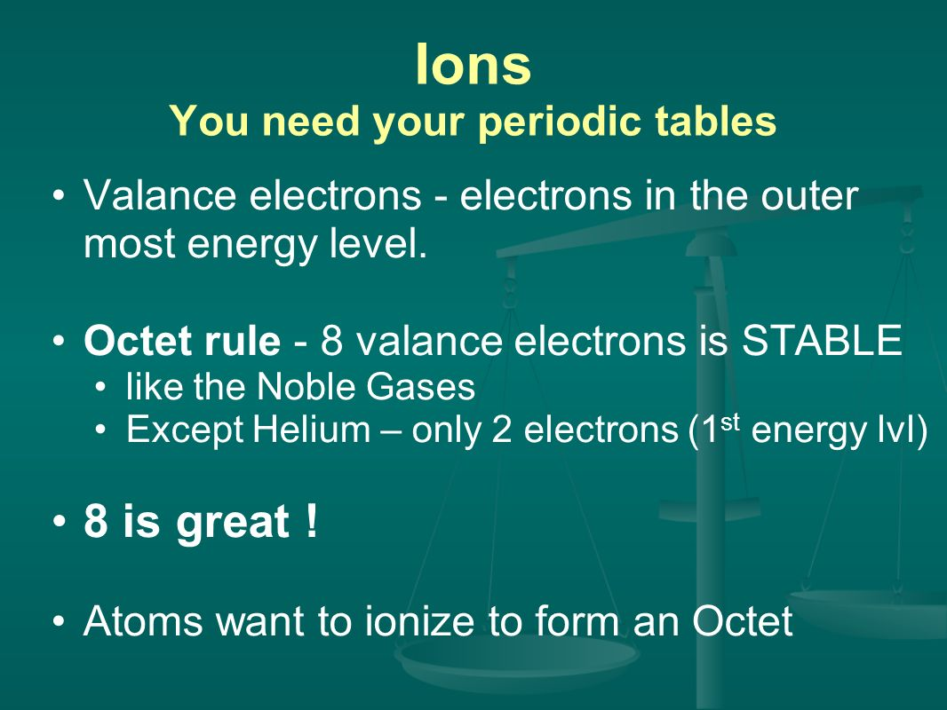 Ions You need your periodic tables Valance electrons - electrons in the outer most energy level.