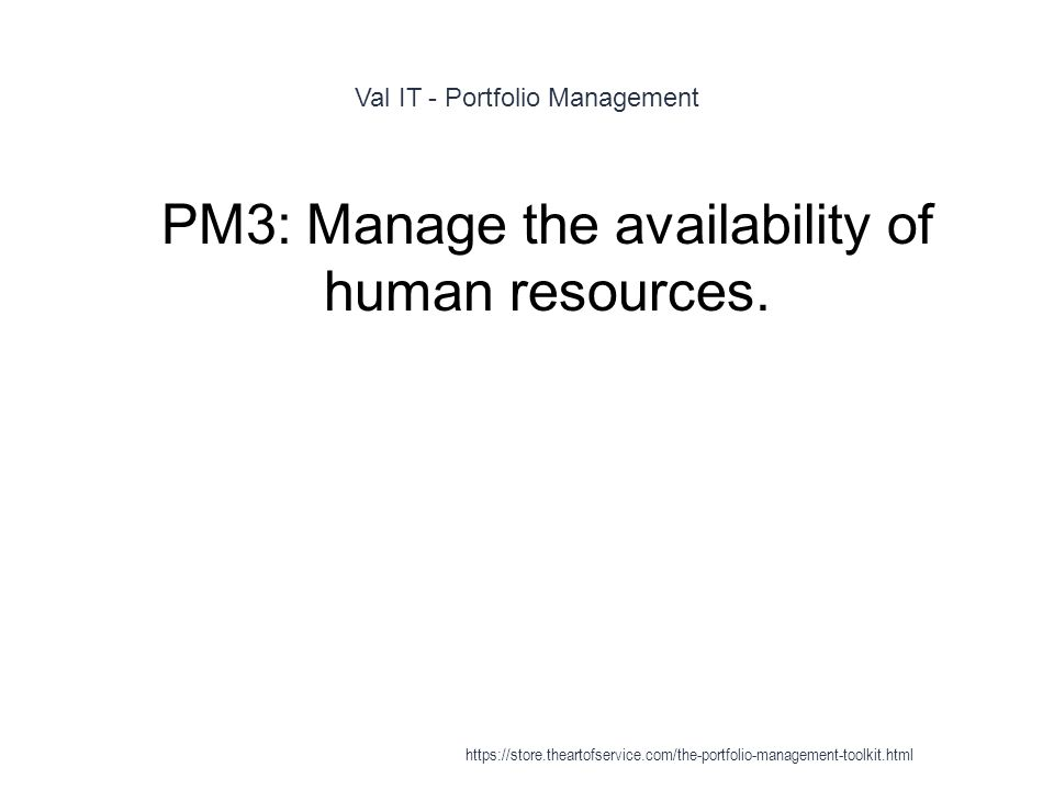 Val IT - Portfolio Management 1 PM3: Manage the availability of human resources.