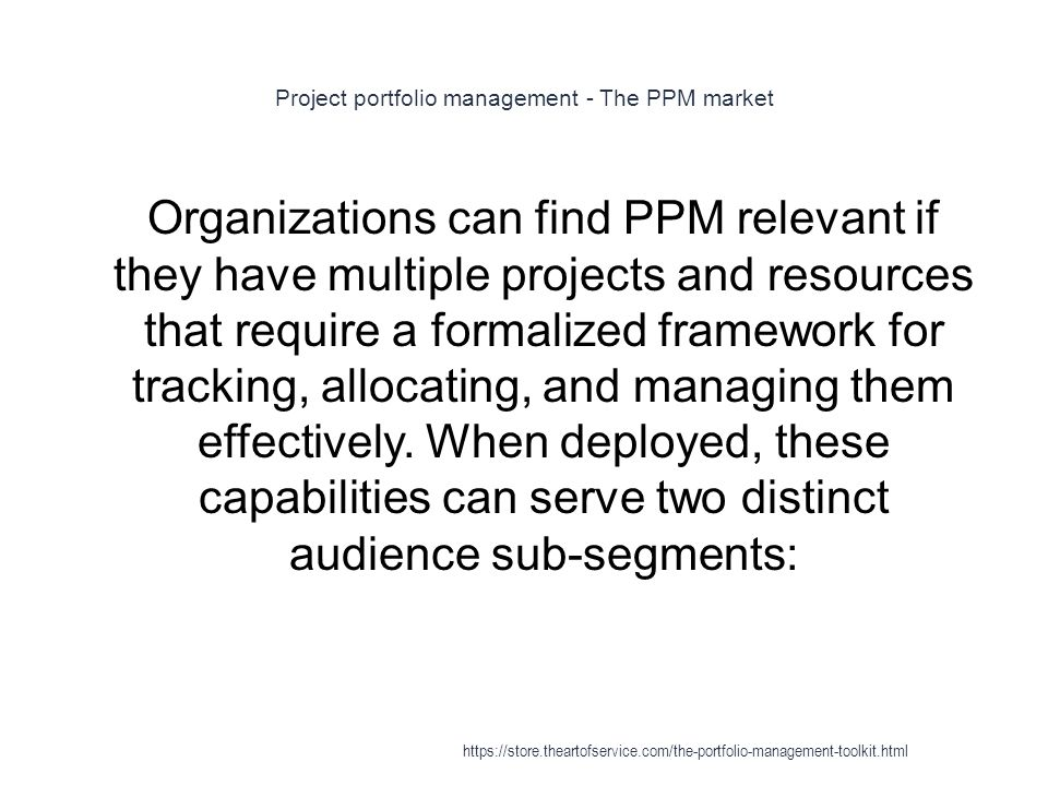 Project portfolio management - The PPM market 1 Organizations can find PPM relevant if they have multiple projects and resources that require a formalized framework for tracking, allocating, and managing them effectively.