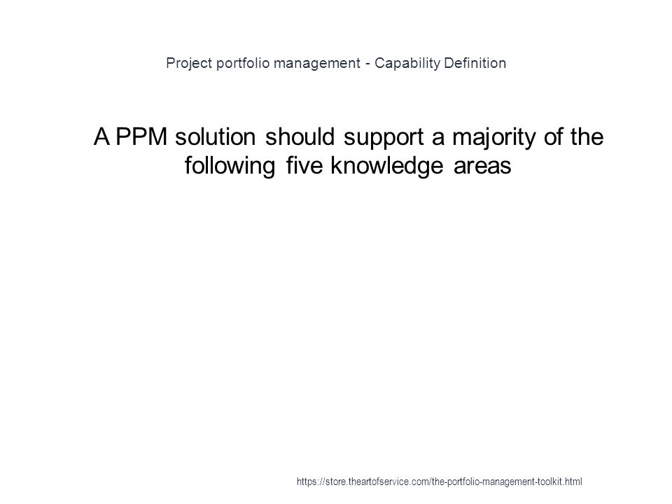 Project portfolio management - Capability Definition 1 A PPM solution should support a majority of the following five knowledge areas https://store.theartofservice.com/the-portfolio-management-toolkit.html