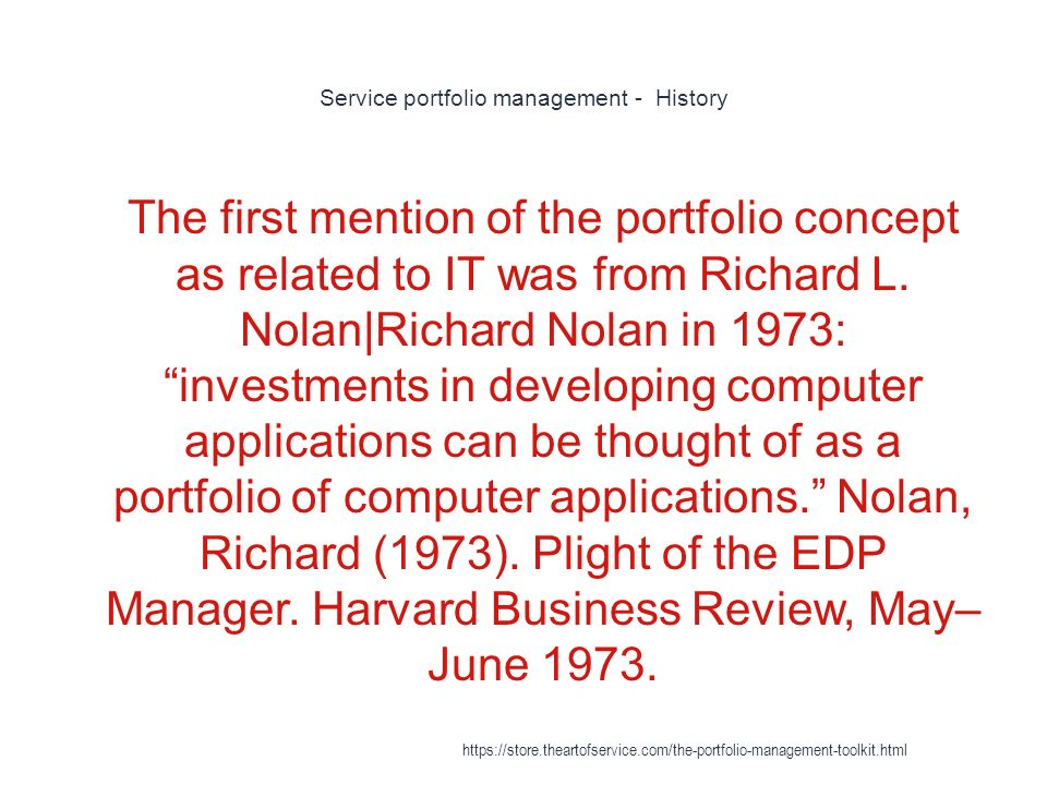 Service portfolio management - History 1 The first mention of the portfolio concept as related to IT was from Richard L.