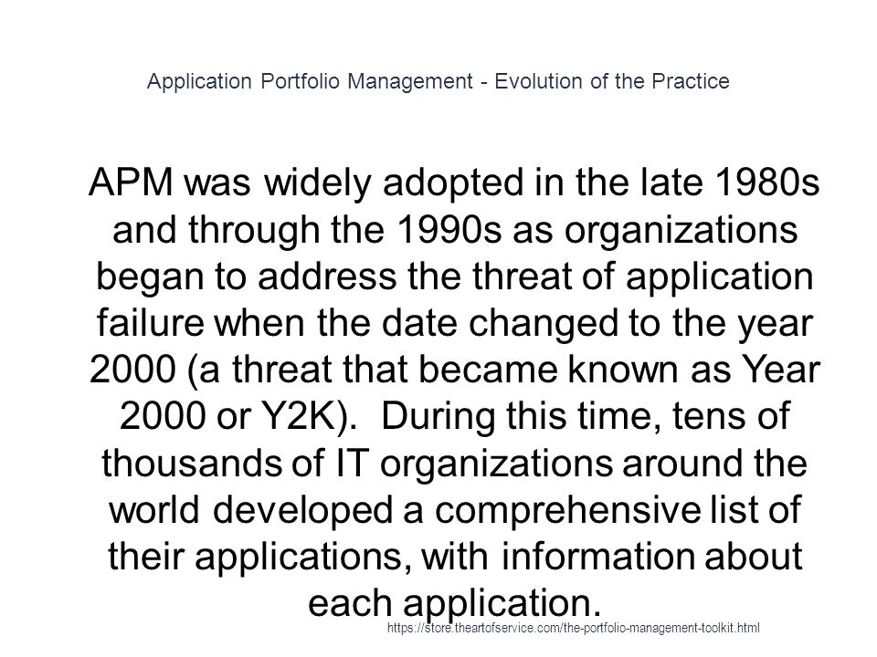 Application Portfolio Management - Evolution of the Practice 1 APM was widely adopted in the late 1980s and through the 1990s as organizations began to address the threat of application failure when the date changed to the year 2000 (a threat that became known as Year 2000 or Y2K).