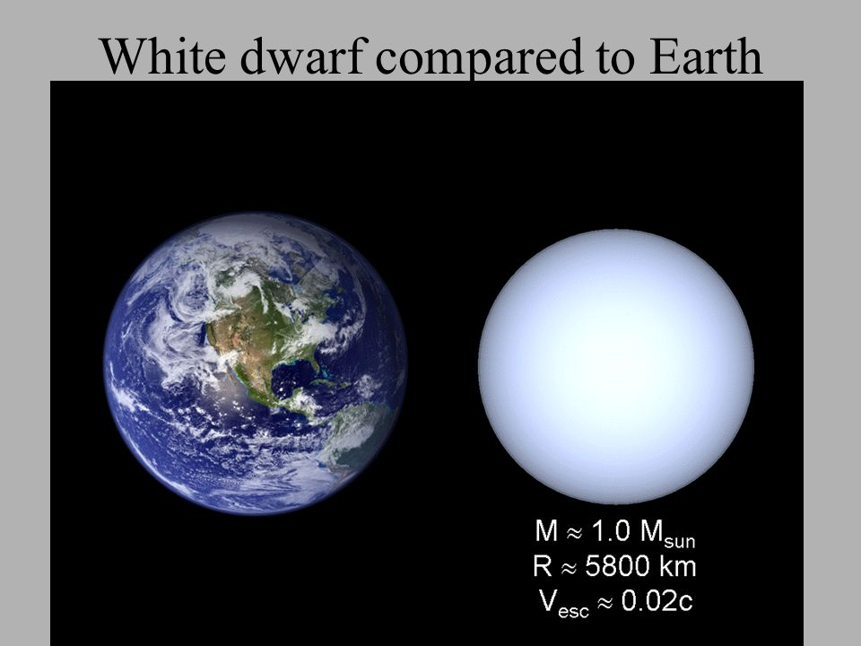 White dwarf compared to Earth